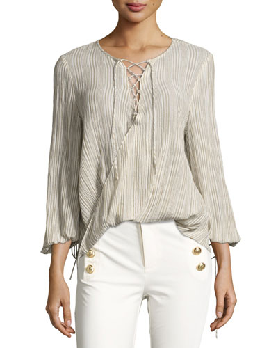 Long-Sleeve Draped Plissé Blouse, Khaki