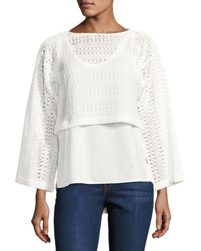 2-in-1 Crochet Top W/ Poplin Underlay, White