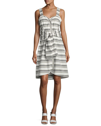 Sleeveless Striped Tie-Front Poplin Dress, White