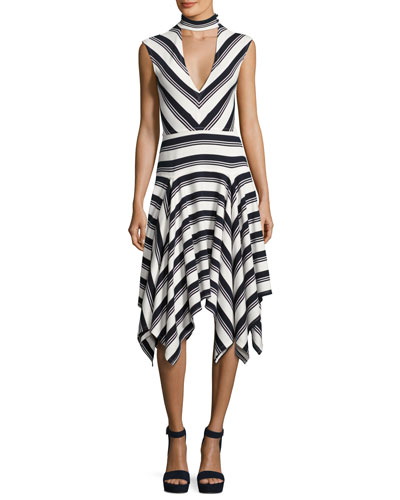 Sleeveless Mitered Stripe Stretch Jersey Dress, Navy/White