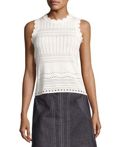 Sleeveless Pointelle Crewneck Sweater, White