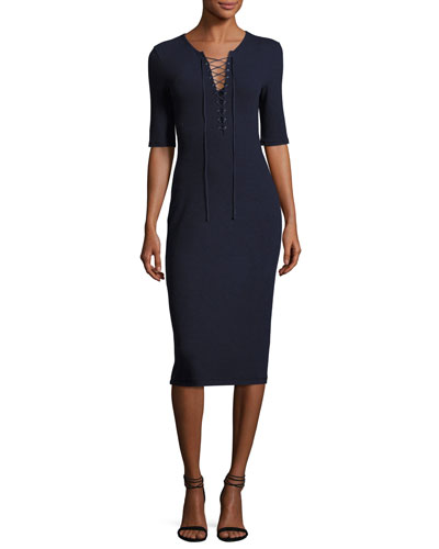 Laced Ponte Midi Dress, Navy