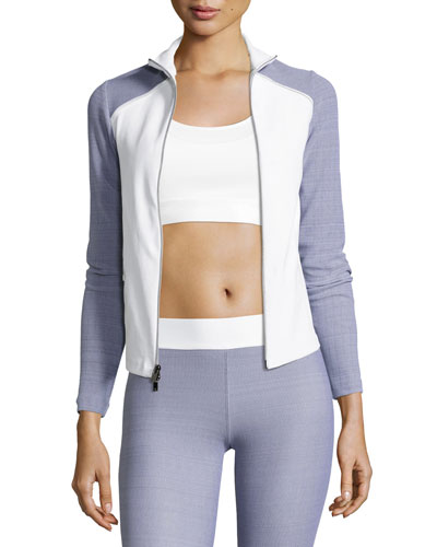 Tracking Fitted Performance Jacket, Gray/White