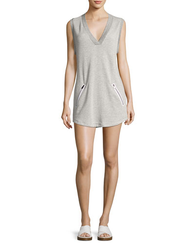 Sweat V-Neck Sleeveless Athletic Dress, Gray