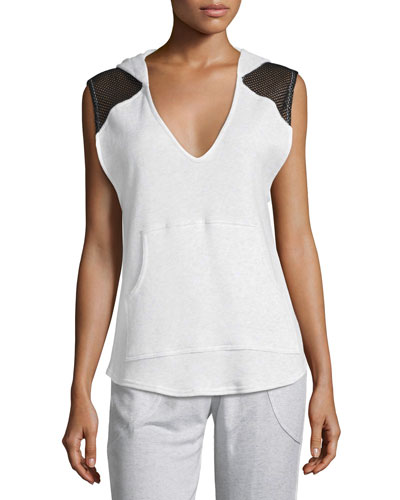 Ash Fishnet French Terry Hooded Vest, Gray