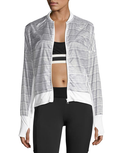 Feather Weight Stripe-Print Jacket, Gray