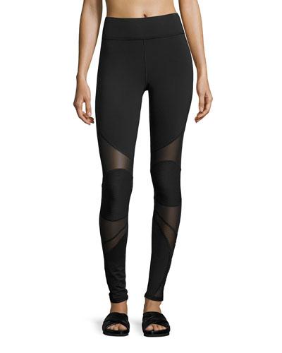 Revolution Mesh-Panel Performance Leggings, Black