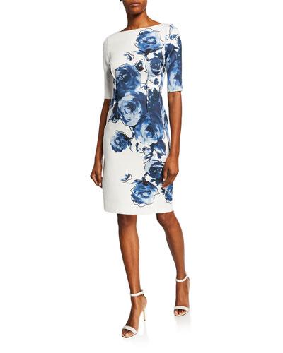 Floral Scuba Cocktail Dress