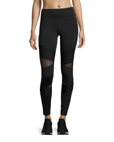 Kitana Mesh-Panel Performance Leggings, Black
