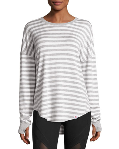 Soothe Striped Pullover Sweater, Gray/White