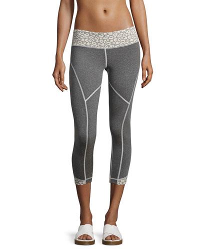 Cheetah Rhythm Capri Leggings, Gray/White