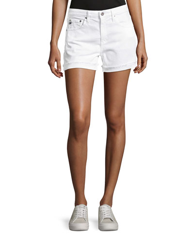Hailey Mid-Rise Denim Jeans Shorts, White