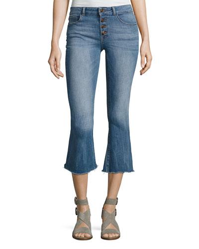 Lara Instasculpt Cropped Flare Denim Jeans, Indigo