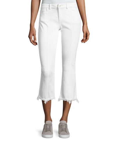 Lara Instasculpt Cropped Flare Pintuck Jeans, White
