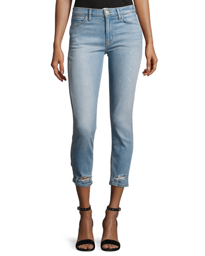 Savy Mid-Rise Crop Straight Denim Jeans, Indigo