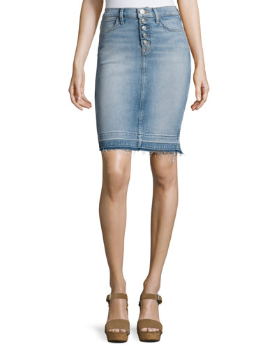 Remi High-Rise Denim Pencil Skirt, Indigo