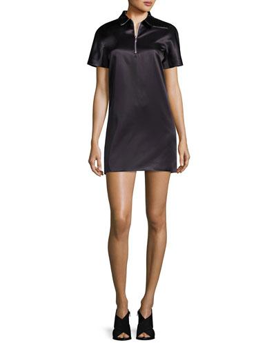 Half-Zip Satin Polo Dress, Black