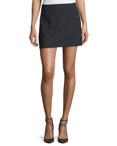 Pinstripe Wool Miniskirt