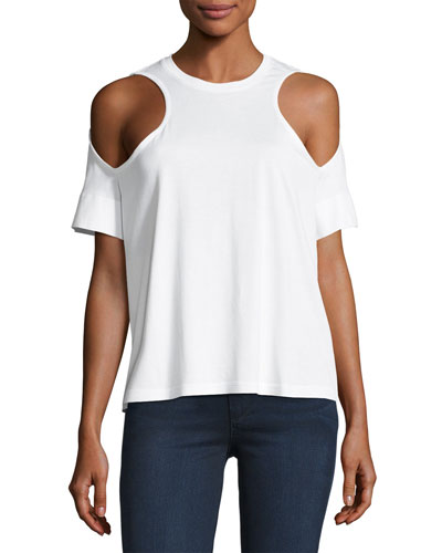 Short-Sleeve Cold-Shoulder Jersey Top, White