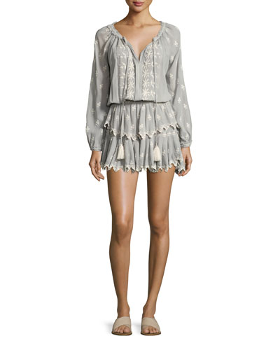 Popover Embroidered Ruffled Mini Dress, Beige