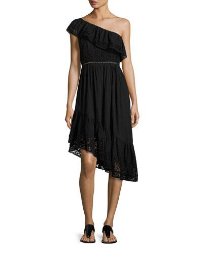 Pamela Asymmetric One-Shoulder Midi Dress, Black