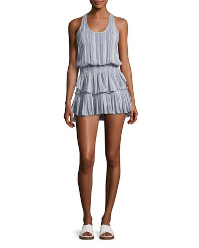 Racer Ruffled-Hem Mini Dress, Blue Pattern