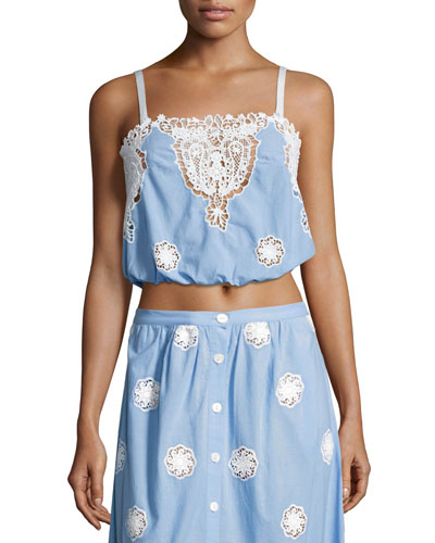 Hannah Versailles Sleeveless Lace Crop Top, Blue