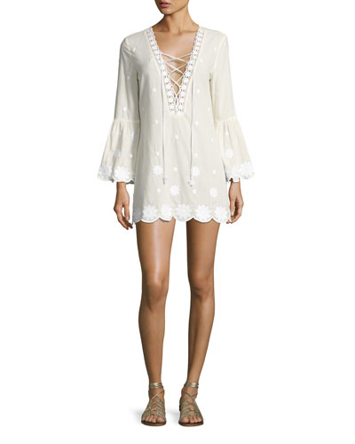 Laurie Daisy Embroidered Lace-Up Tunic, White