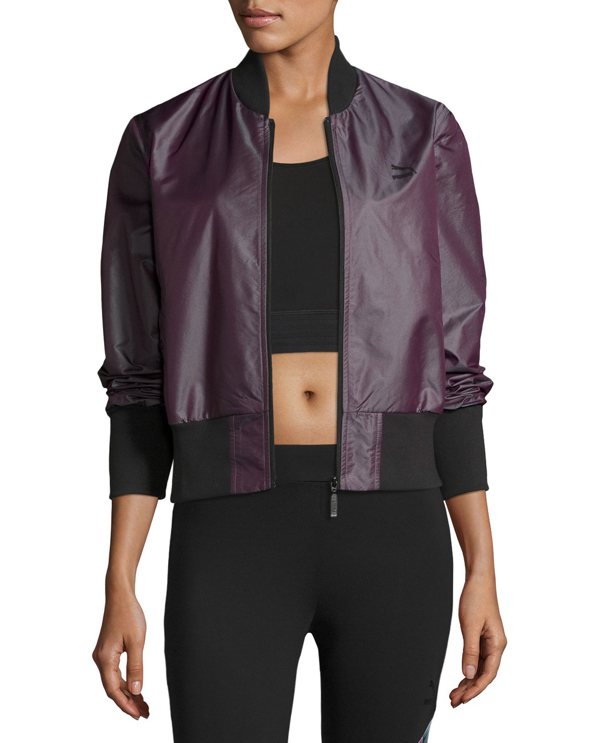 Iridescent Bomber Jacket, Plum