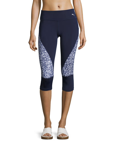 Culture Surf 3/4 Tights Leggings, Blue Pattern