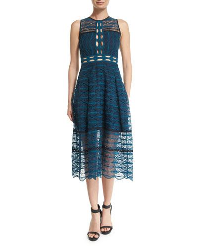 Mixed-Embroidery Sleeveless Midi Dress