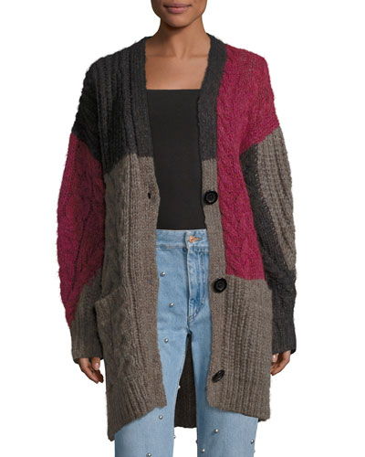 Dailon Patchwork Cable-Knit Cardigan