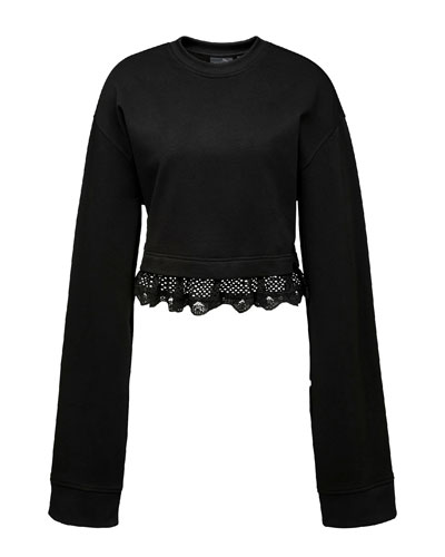 Cropped Lace-Hem Long-Sleeve Sweatshirt, Black