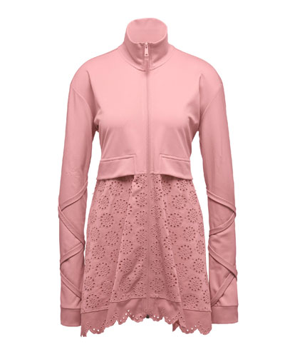 Zip-Front Tricot Jacket w/Eyelet Bottom, Pink