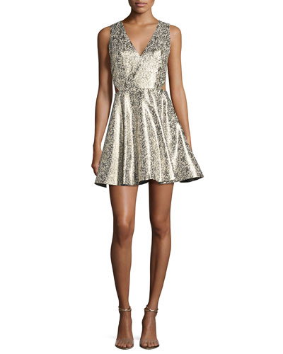 Varita Metallic Cutout Fit & Flare Party Dress