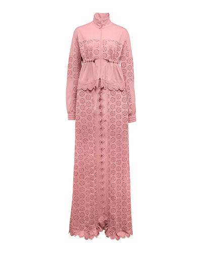 Tricot Zip-Off Maxi Coat, Pink