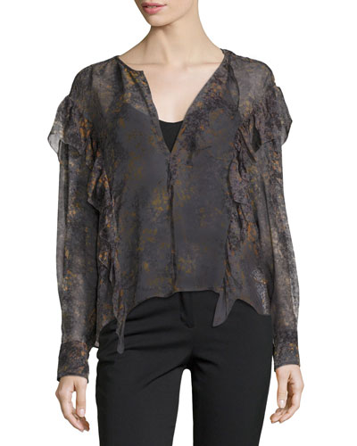Jelby Printed Cotton Ruffle-Front Blouse