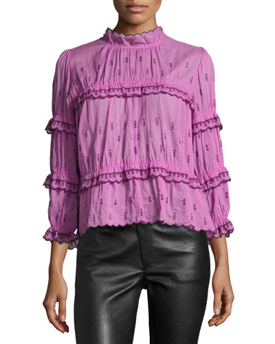 Loxley Smocked 3/4-Sleeve Blouse, Pink
