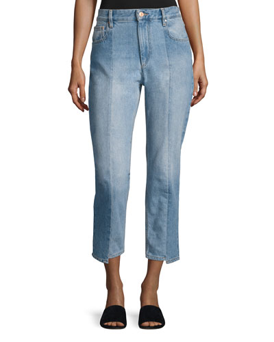 Clancy Mixed-Denim Cropped Straight-Leg Jeans