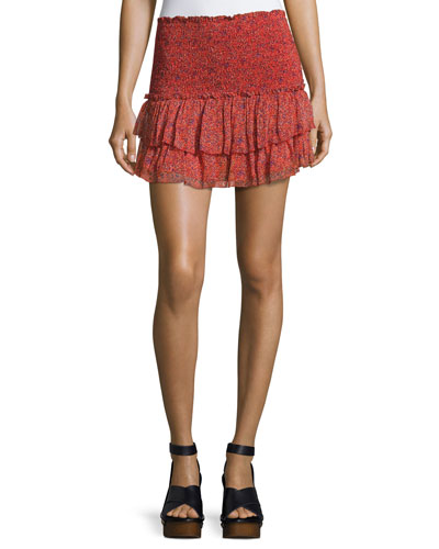 Julia Smocked Mini Skirt, Red