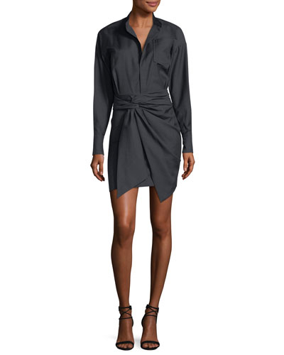 Nolla Wrap-Front Shirtdress