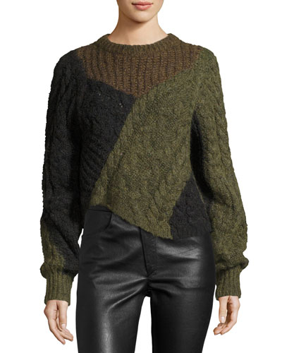 Daryl Colorblock Chunky Knit Sweater, Khaki