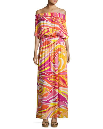 Lance Printed Off-the-Shoulder Maxi Dress