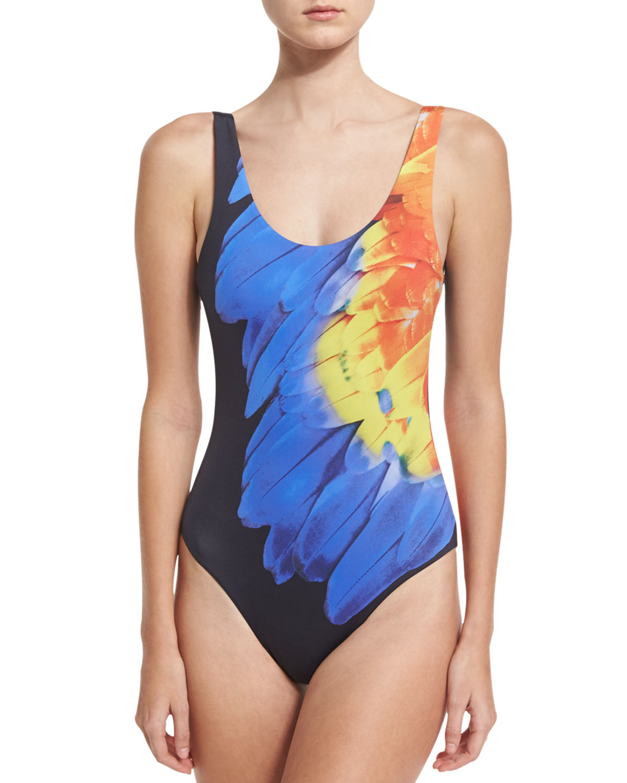 Kelly One-Piece Swimsuit, Blue/Orange
