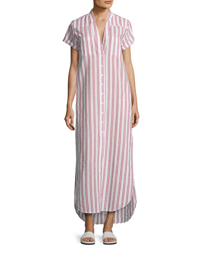 Kim Button-Front Coverup Maxi Dress, Red/White