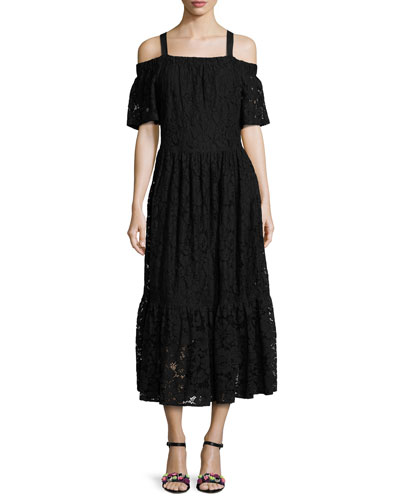 Cold-Shoulder Lace Maxi Dress, Black