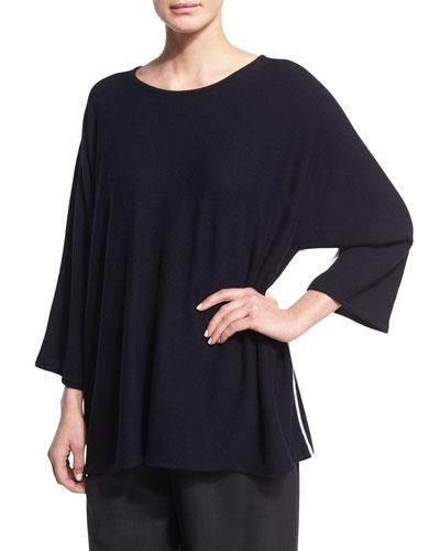Sideways-Knit Cashmere 3/4-Sleeve Sweater