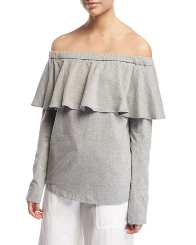 Off-The-Shoulder Ruffle Cotton Top, Light Gray