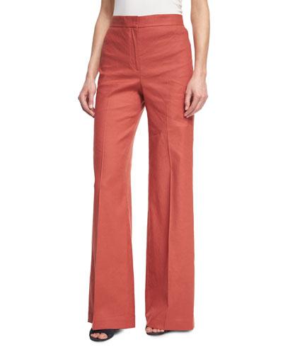 Terena High-Waist Wide-Leg Pants, Red