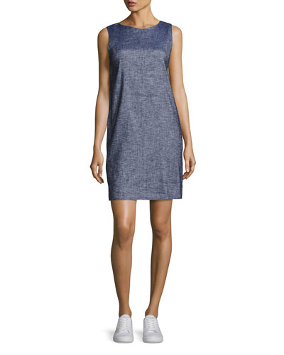 Narlica Relaxed Sleeveless Chambray Shift Dress, Blue